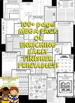 Early Finishers Activities 2nd Grade, 3rd Grade and 4th Grade (Bundle)