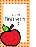 Early Finisher Bin Label