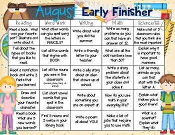 Early Finisher Calendars (Aug.-Oct.)