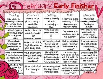 Early Finisher Calendars (Nov.-Feb.)