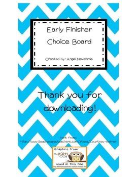 Early Finisher Choice Board