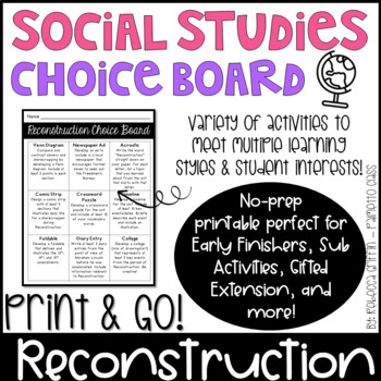 Early Finisher Choice Board - Reconstruction