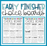 Early Finisher Choice Boards | Math, Writing & ELA review