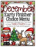 Early Finisher Choice Menu - December