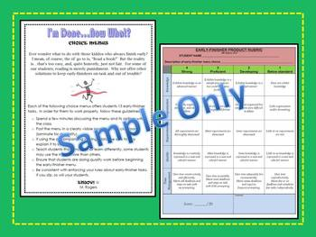 Early Finisher Choice Menus and Rubric