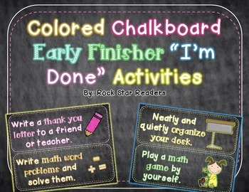 Early Finisher I'm Done Activity Cards Colorful Chalkboard Theme & EDITABLE