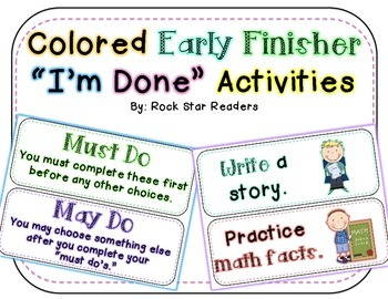 Early Finisher I'm Done Activity Cards Colorful & EDITABLE
