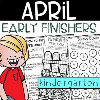 Kindergarten Early Finishers Activities April