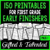 Early Finishers: First Grade Early Finisher Activities for