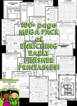 Early Finishers Activities for Kindergarten, 1st Grade and 2nd Grade (Bundle)