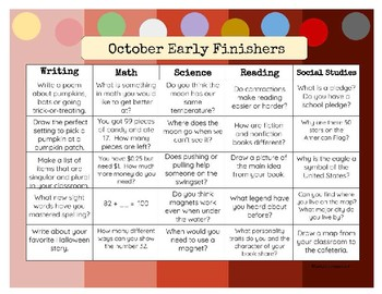 Early Finisher Monthly To Do's