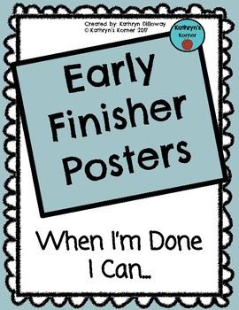 Early Finisher Posters