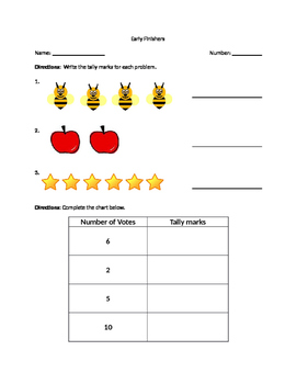 Early Finisher Tally Marks Worksheet