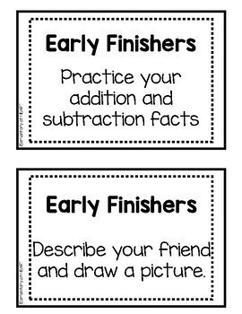 Early Finisher Task Cards for Reading and Math