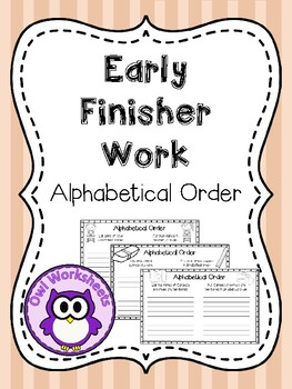 Early Finisher Work - Alphabetical Order