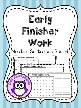 Early Finisher Work - Number Sentence Search