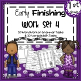 First Grade Early Finisher Work Set 4