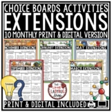 Early Finishers Activities and Extension Choice Boards GT Monthly Menus