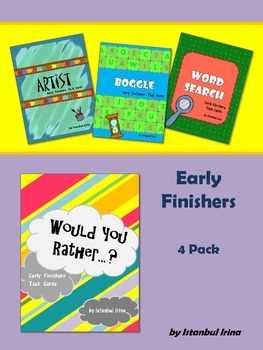 Early Finishers - 4 Pack (Artist, Boggle, Would You Rather, Wordsearch)