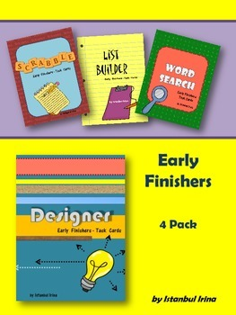 Early Finishers - 4 Pack (Designer, List Builder, Scrabble, Wordsearch)