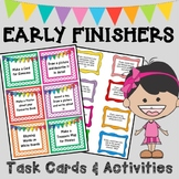 Early Finishers Activities/Printables (50 Task Cards & Wor