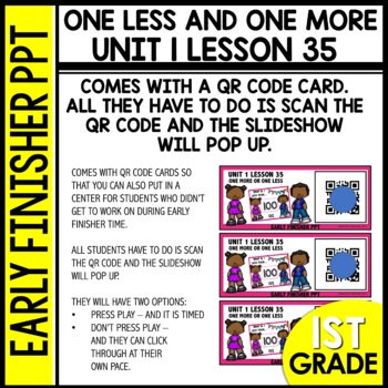 Early Finishers Activities | one less and one more | Module 1 lesson 35