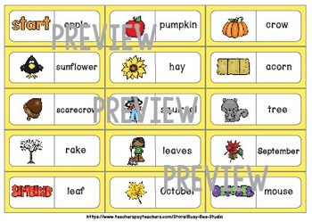 Early Finishers Activity | Dominoes: Fall Words