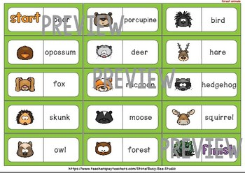 Early Finishers Activity | Dominoes: Forest Animals