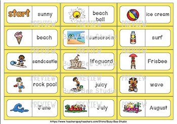 Early Finishers Activity | Dominoes: Summer Words