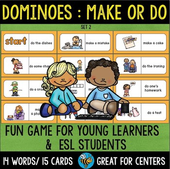 Early Finishers Activity | Dominoes for ESL/ELL Kids: Make or Do (set 2)