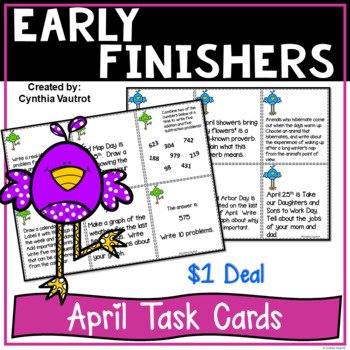 Early Finishers Task Card Activities for April{$1 Deal}