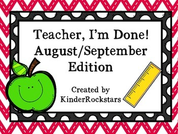 Early Finishers August/September Edition