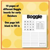 Early Finishers: Boggle® Worksheet