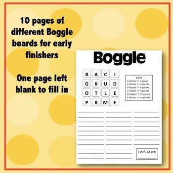 Early Finishers: Boggle® Worksheet