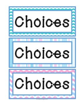 Early Finishers Choice Board