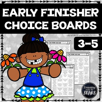 Early Finishers Choice Boards for 3rd Grade, 4th Grade, 5th Grade