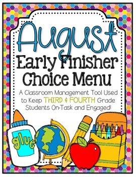Early Finishers Choice Menu - August