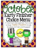 Early Finishers Choice Menu - October