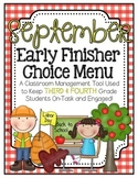 Early Finishers Choice Menu - September