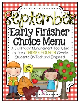 Early Finishers Choice Menu - September