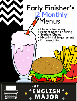 Early Finisher's Choice Menu for 12 Months - Bloom's Taxonomy