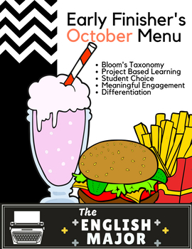 Early Finisher's Choice Menu for October - Bloom's Taxonomy