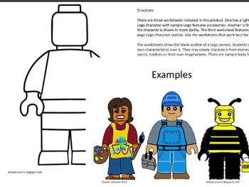 Art Project Worksheet for Early Finishers - Create a New Lego Character