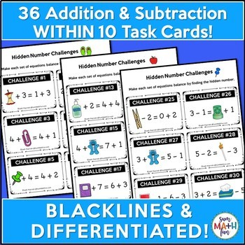 Early Finishers & Gifted - Addition & Subtraction Balancing Equations Within 10
