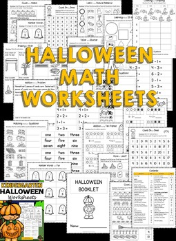 Halloween: Kindergarten Halloween Activities and Worksheets (Math and ELA)