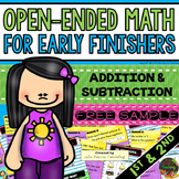 Early Finishers: Math Early Finishers Activities (1st and 2nd) FREE SAMPLE