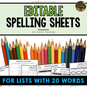 Editable Spelling Worksheets and Spelling Activities (FOR ANY 20 WORD LIST)