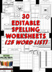 Editable Spelling Worksheets and Spelling Activities (FOR ANY 25 WORD LIST)