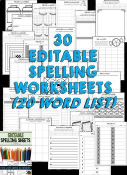 Spelling Activities (Editable) for Spelling Practice (BUNDLE - 20 & 25 WORDS)