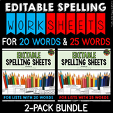 Spelling Activities (Editable) for Spelling Practice (BUNDLE - 20 & 25 WORDS)